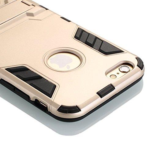 Wkae® iPhone 6 coque, 2 en 1 Nouveau Armour style robuste hybrides double couche Armure Defender PC Hard coques avec support [antichoc coque] pour iPhone 6 4.7 pouces par Diebell (Bleu-Noir) Gold
