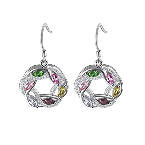 COLORFEY S925 Sterling Silver Round Pendant Necklace and Drop Earrings Luxury Party Gemstone Jewellery Set for Women Girls