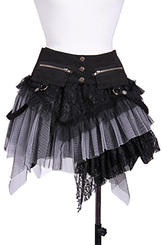 Women's Gothic Punk Layered Lace Mini Skirt