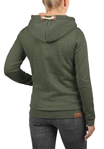 DESIRES Vicky Zip-Hood Damen Sweatjacke Kapuzen-Jacke Zip-Hood aus hochwertiger Baumwollmischung Meliert Climb Ivy mit Teddy-Futter