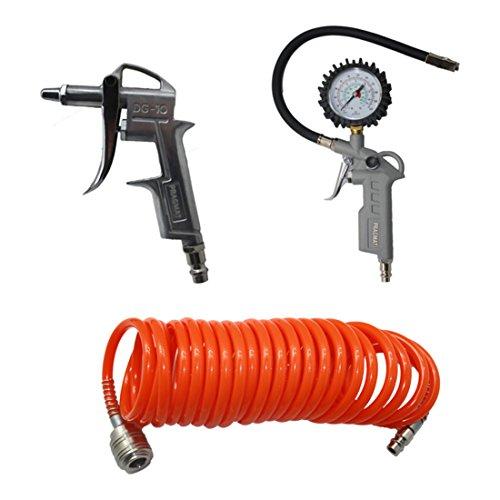 PRAGMAT Druckluft-Set, 3-teilig, mit Spiralschlauch, Reifenfüllmessgerät und Ausblaspistole, 5m Schlauch, mit Adapter