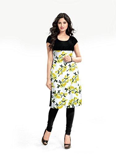 Kurti (Sai Fab Women\'s Cotton Printed Yellow Kurti) (Free & XL Size)