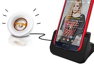 Dual Cover-Mate USB Dockingstation, Tischladestation, Tischlader, Ladeschale mit Akkuschacht und Audio-Out Buchse !!! für Samsung Galaxy S IV I9505 / S4 I9505 / S IV I9500 / S4 I9500 Edle Eleganz PDA-Punkt