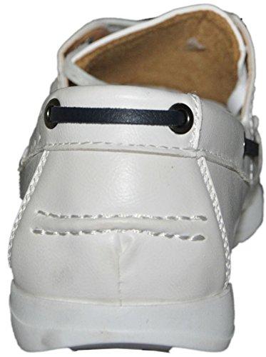 Mokassins Boot zu Innen Leder G011 Weiß - weiß