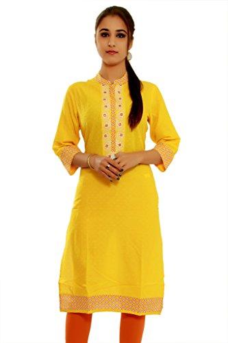 Alobha Cotton kurtis for women (Yellow
