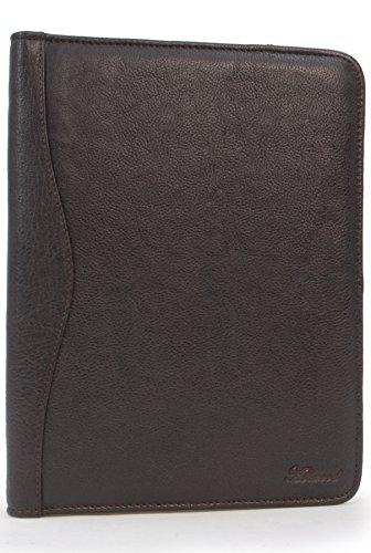 ASHWOOD - Carpeta portadocumentos (cremallera, anillas, múltiples bolsillos, tamaño A4) - Cuero - Marrón
