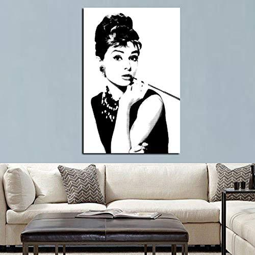 xingbu Kein RahmenHd Print Schwarz Mit Weiß Audrey Hepburn Porträt Auf Leinwand Wandkunst Bild Pop Art NGS Für Wohnzimmer Cuadro Dekoration 30x40 cm