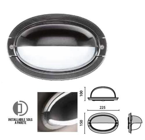 Hublot extérieur ovale avec visière anthracite 225X190mm pour lampe E27 230V max 60W (non incl) ELISSA PRISMA 700025