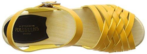 Swedish Hasbeens Damen Braided High Sandalen Yellow (Warm Yellow)