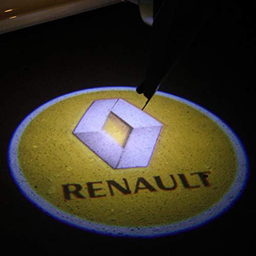 Aokairuisi Kit Luci Logo Renault Proiettore sottoporta LED CREE Cortesia 5W 12V Universale