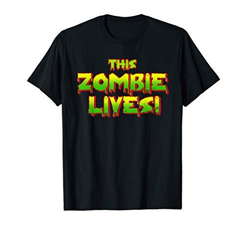 Kostüm Dead Living Kind - Dieses Zombie lebt faule Halloween-Kostüm T-Shirt