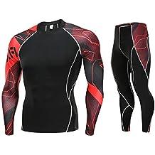 POLP Hombre Entrenamiento Polainas Fitness Deportes Gimnasio Correr Yoga Pantalones Deportivos + Traje de Camisa Apretado