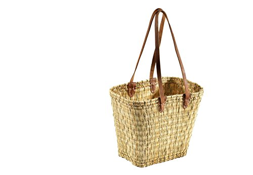 Kobolo Korbtasche Flechttasche aus Seegras mit Echt-Lederhenkeln