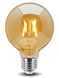 Retro Vintage Led 2w Globe Edison Style Filament Bulb Smoked Gold Glass G95 E27 Edison Screw