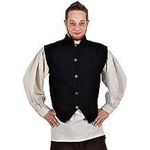 Chaleco medieval señorial - hombre - cuello alto - botones de latón - tejido a mano - algodón - negro