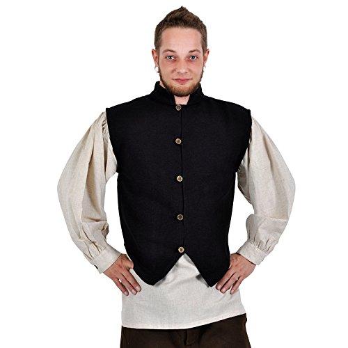 Chaleco medieval señorial - hombre - cuello alto - botones de latón - tejido a mano - algodón - negro - XL