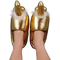 Goldene Penispuschen - Hausschuhe mit steifem Penis und prallen Hoden auf der Spitze, Latschen für sie und ihn, gold
