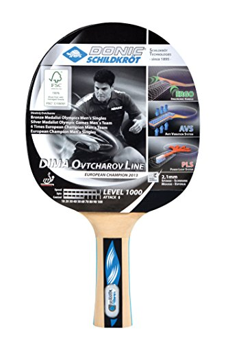 Donic-Schildkröt Tischtennisschläger Ovtcharov 1000 FSC, AVS, PLS & Ergo-Griff, 2,1 mm Schwamm, FSC Holz, Energy - ITTF Belag, 754411