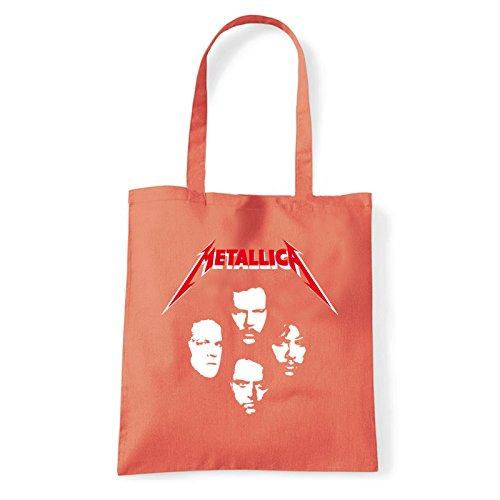 Art T-shirt, Borsa Shoulder Metallica Faces, Shopper, Mare Corallo