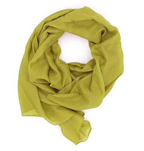 Dolce Abbraccio WILD CAT Damen Schal Halstuch Tuch aus Chiffon für Frühling Sommer Ganzjährig (Apfelgrün)