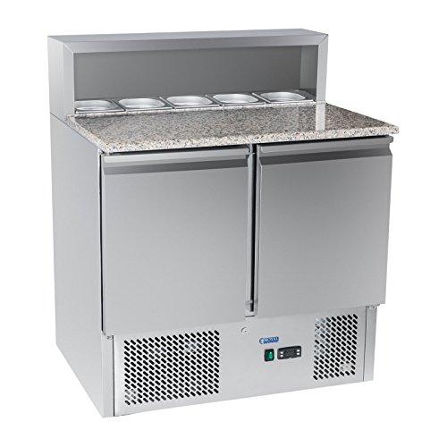 Royal Catering Kühltisch Pizzakühltisch Saladette RCKT-90/70-G (Granitarbeitsplatte, 70x90x110cm, 300l, 0-10°C, 250W) Silber