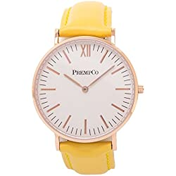 Prempco - Nobel - Ladies Watch - Ivory White - Rose Gold - Quick Change Watch Wrist Band, Yellow