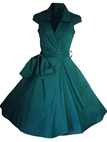 Robe de Soiree ,Vintage Rockabilly style,Retro Années 50, Jupe, Swing,Pin up ,Parfaite Pour Soiree Dansante, Taille 34-54 Vert foncé