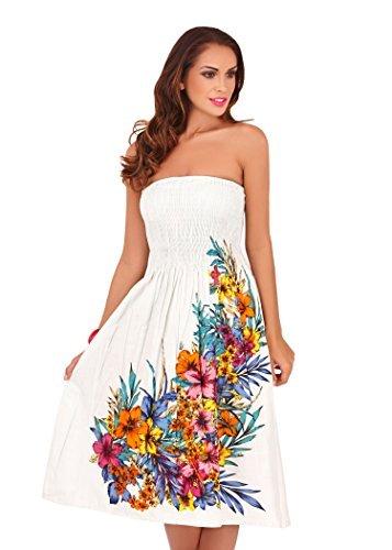Pistachio - Femmes - Robe ou jupe mi-longue 2 en 1 motif floral pois été vacances - Noir, S - 36-38 Fleur Blanche