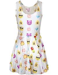 Ninimour Damen Emoji Eindruck ärmellos Rundhalsausschnitt Tank Kleid