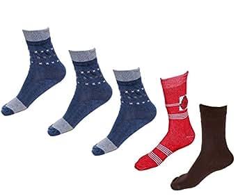 Indistar Boys Pure Cotton Socks(Pack of 5 Socks)-Multicolor-12-14 Years