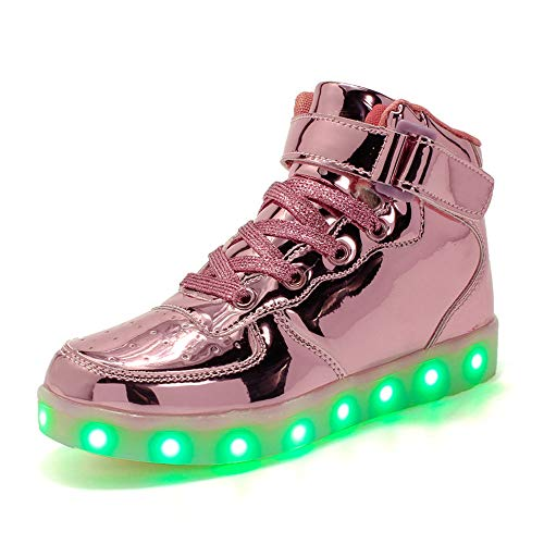 Pink High-top-sneaker (Unisex Kinder LED Reflektierende Schuhe, 7 Farbe USB Aufladen Blinkende Light Up Turnschuhe, Leder Blinkt High-Top Sneaker, Für Mädchen Und Jungen,Pink,28EU)