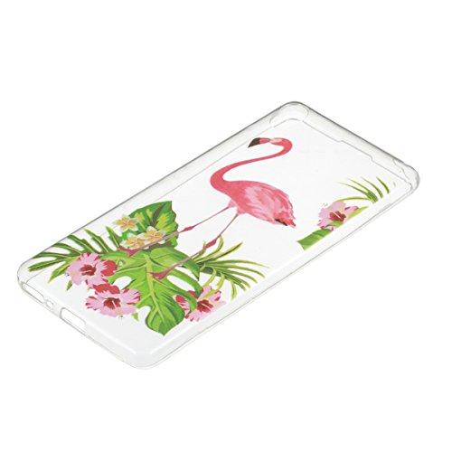 Ukayfe Custodia per Sony F3111BLK Sony Xperia XA F3111,UltraSlim TPU Gel Gomma Silicone Copertura Case per Sony F3111BLK Sony Xperia XA F3111,Moda Serie Pattern Back Cover Crystal Skin Custodia Stilos Flamingo fiori