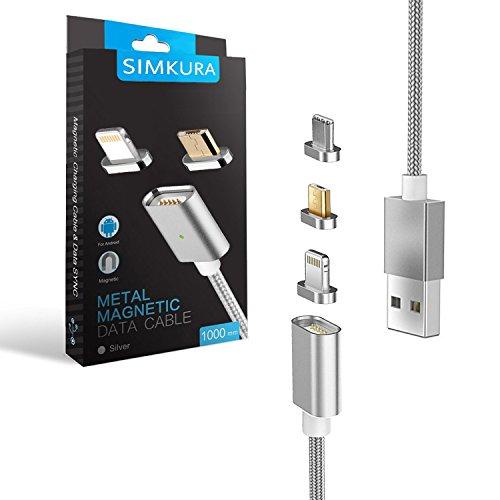Cable USB Magnético,Simkura cable Micro USB, USB Type C,Lightning interfaz 3 en 1, carga rapida 1m para Cargar & Sincronizar Datos para Android&IOS Smartphones.(Plata)