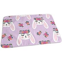 Coniglietti floreali - Viola - Coniglietti coniglietti primaverili coniglietti pasquali LAD Tovagliolo riutilizzabili portatili bianchi per