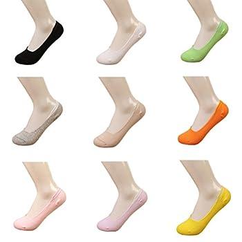Lot de 10 Paires Chaussettes Femmes Basses Silicone Antidérapage Chaussettes Invisibles Bambou Fibre Socqettes Unies Eté...