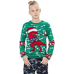 Loveternal Unisex Jersey Navidad Niño Ugly Christmas Sweater Punto Dinosaur Familia Xmas Jumper Edad 7-8 Años