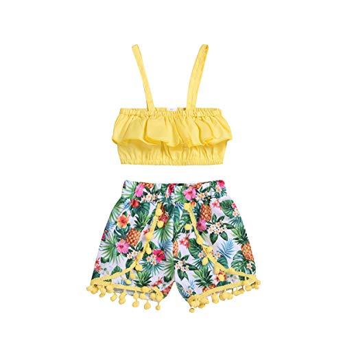 Kleinkind Mädchen Riemen Rüschen Crop Top + Quaste Hose Baby Kinder Sommer Ananas Kleidung Set 0-5J -