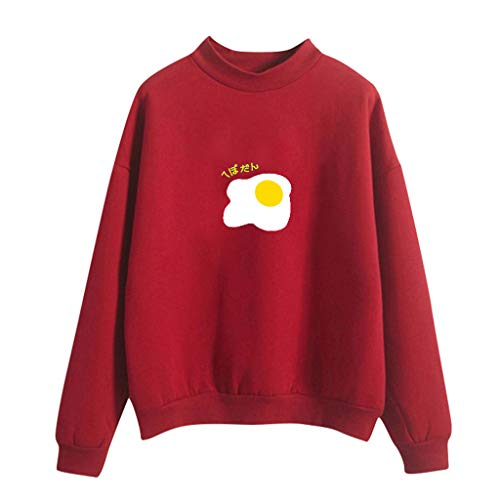 Pullover Sweatshirt für Damen,Kobay 2019 Halloween Heiligabend Weihnachten Frauen Oansatz Normallack poschiertes Ei Muster Lange Hülse Plus Samt Sweatshirt T Shirt Hemd übersteigt Blusen Strickjacke -