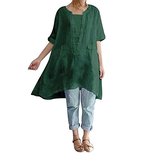 OverDose Damen Casual Übergröße Unregelmäßige Mode Lose Leinen Kurzarm Shirt Vintage Bluse Fest Hemd Lang Tank Tops T-Shirt Freizeit Oberteile Tees (EU-44/CN-XL, C-Grün)
