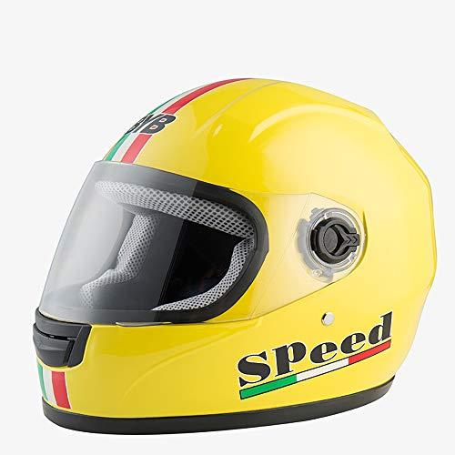 TaSey Motorrad Crash Modular Helm, Anti-Fog Double Lens Cool Flip Modular Elektroauto Offroad Helm DOT Zertifizierung,Yellow -