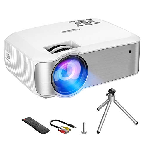 Mini Beamer, 3000 Lumen Video Projektor, Full HD 1080P, +100% Helligkeit, tragbarer Filme, HD LED Multimedia-Projektor für Heimkino, kompatibel mit HDMI, VGA, USB, AV, SD, Laptop, Smartphone
