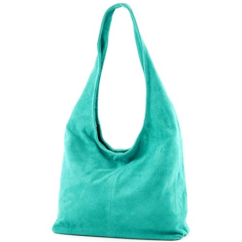 Borsa a mano borsa a tracolla shopping bag donna in vera pelle italiana T02 Türkis