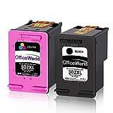 OfficeWorld Remanufacturéd HP 302XL 302 XL Cartouches d'Encre (Noir, Trois Couleurs)...