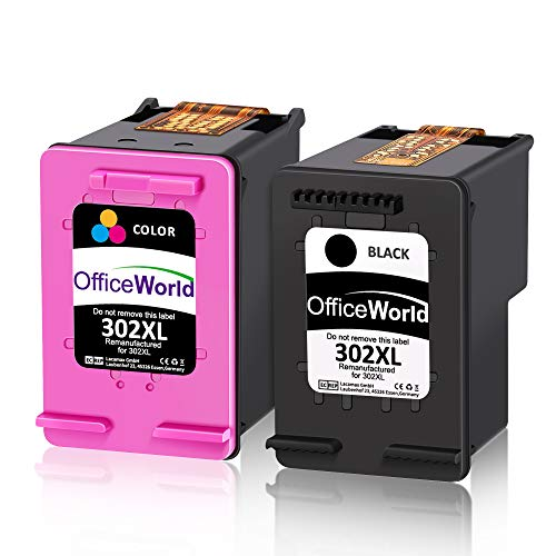 OfficeWorld Remanufacturado HP 302XL 302 XL Cartucho de tinta Paquete de ahorro...
