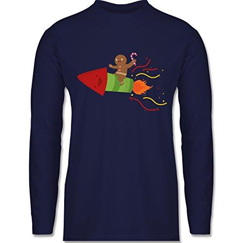 Weihnachten & Silvester - Lebkuchenmann lachend auf Rakete - Longsleeve / langärmeliges T-Shirt für Herren Navy Blau