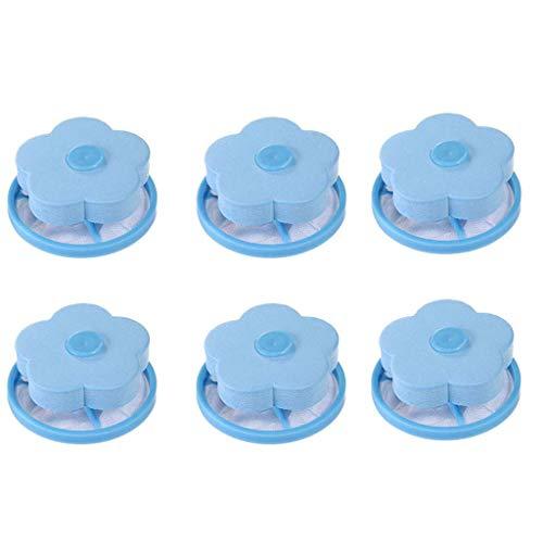 MiMiey Waschmaschine Filter Reinigungswerkzeuge Universal Schwimmerfilterbeutel Waschmaschine Abwasserpumpen Flusensiebe Woll Reinigungsmittel (Blau 6PC)