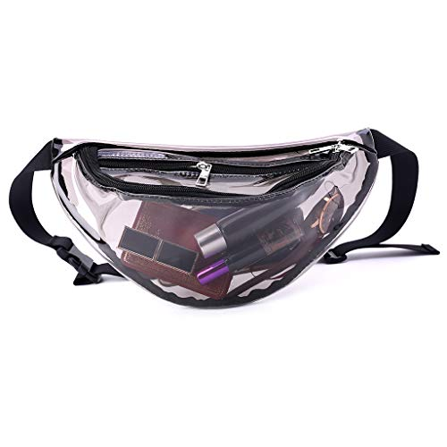chenpaif Damen PVC Fanny Pack Gürtel Taille Bum Bag Laser Travel Beach Purse Hot Pink schwarz