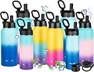 Newdora Botella de Agua Deportiva de Acero Inoxidable sin BPA Reutilizable a Prueba de Fugas Aislamiento al Va