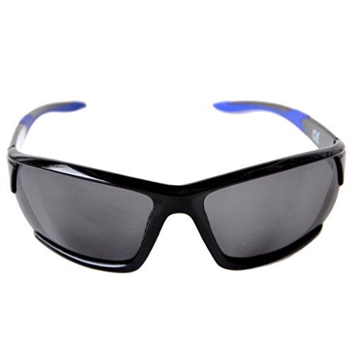 Sport Sonnenbrille Polarisiert für Damen und Herren mit hartem Etui für Radfahren, Laufen, Angeln, Klettern, Skifahren, Bergsteigen, Wandern (Schwarz, Blau, Grau Linse)