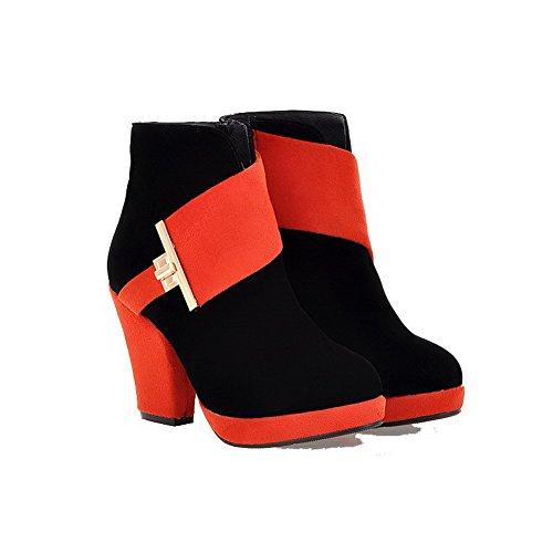 VogueZone009 Damen Reißverschluss Rund Zehe Hoher Absatz Stiefel mit Metallisch Orange